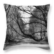 9 Black And White Artistic Painterly Icy Entrance Blocked By Braches Throw Pillow