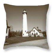 Lighthouse - Presque Isle Michigan Throw Pillow