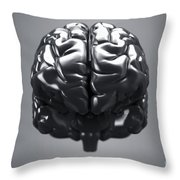 Metallic Brain Throw Pillow