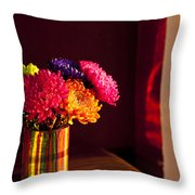 Multicolored Chrysanthemums In Paint Can Throw Pillow