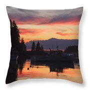 Port Clyde Maine Fishing Boats At Sunset Throw Pillow