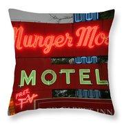 Route 66 - Munger Moss Motel Throw Pillow