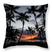 Silhouette Of Palm Trees At Dusk Throw Pillow