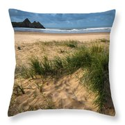 Stunning Sunrise Landscape Over Three Cliffs Bay In Wales Throw Pillow