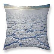 sunrise at Salar de Uyuni worlds largest salt lake Bolivia Throw Pillow