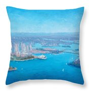 Sydney Harbour And The Opera House Aerial View  Throw Pillow