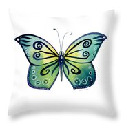 92 Teal Button Cap Butterfly Throw Pillow by Amy Kirkpatrick