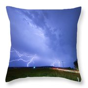 95th And Woodland Lightning Thunderstorm View Throw Pillow
