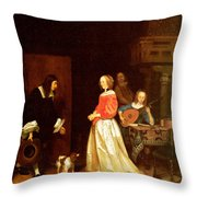 The Suitors Visit Throw Pillow