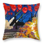 99 Red Balloons Throw Pillow