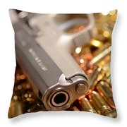 9mm Sw With Brass Throw Pillow