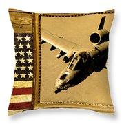 A-10 Warthog Rustic Flag Throw Pillow