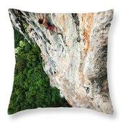 A Athletic Man Rock Climbing High Throw Pillow