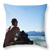 A Athletic Man Sits And Looks Throw Pillow