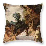 A Bacchanalian Feast, C.1617 Throw Pillow