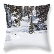 A Backcountry Skier A Turn Near Ymir Throw Pillow