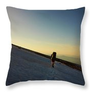 A Backpacker Crosses A Snowfield On Mt Throw Pillow