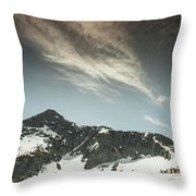 A Backpacker Gazes Up At Needle Peak Throw Pillow