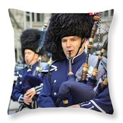 A Bagpiper Marching In The 2009 New York St. Patrick Day Parade Throw Pillow