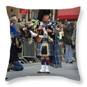A Bagpiper Posing At The 2009 New York St. Patrick Day Parade Throw Pillow