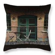 A Balcony On The River Aire Throw Pillow
