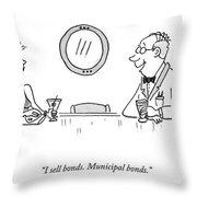 A Bald Man At A Bar In A Tux Speaking Throw Pillow