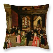 A Ball During The Reign Of Henri Iv Oil On Panel Throw Pillow