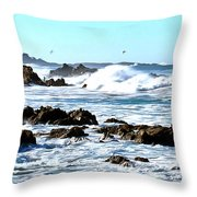 Seascape And Sea Gulls Throw Pillow