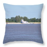 A Barge On The Mississippi River Throw Pillow