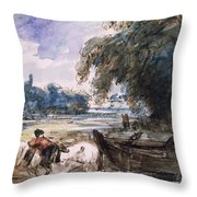 A Barge On The Stour Throw Pillow