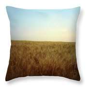 A Barley Crop Sways In The Wind Throw Pillow