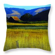A Barn And Field In The Morning Throw Pillow