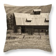 A Barn Near Ellensburg Wa Bw Throw Pillow