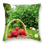 A Basket Of Strawberries Throw Pillow