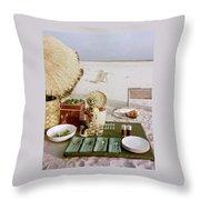 A Beach Picnic Throw Pillow