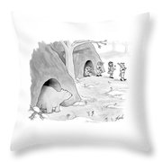 A Bear Emerges From A Cave Throw Pillow