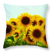 A Beautiful Sunflower Field Throw Pillow