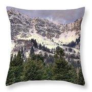 A Beautiful View Of Mount Ogden From Snowbasin 2/1 Pano Throw Pillow