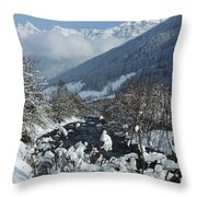 A Beautiful Winterday - Austrian Alps Throw Pillow