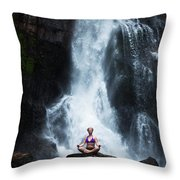 A Beautiful Young Woman Sitting Throw Pillow