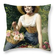 A Beauty Holding A Basket Of Roses Throw Pillow