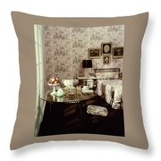 A Bedroom With Matching Wallpaper Throw Pillow