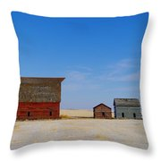 A Big Barn And Three Small Ones Throw Pillow