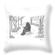 A Big Foot Type Creature Reads A Valentine Card Throw Pillow