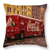 A Big Red Truck In The Barrio Throw Pillow