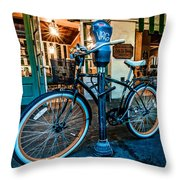 A Bike In Front Of Cafe Du Monde In New Orleans Throw Pillow