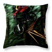 A Biker Rides His Mountain Bike Throw Pillow