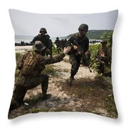 A Bilateral Boat Raid With U.s. Marines Throw Pillow