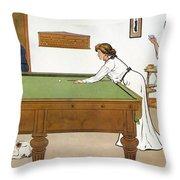 A Billiards Match Throw Pillow