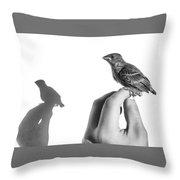 A Bird On The Hand Throw Pillow